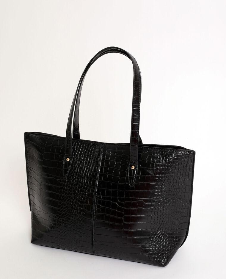 Shopper in krokodillenstijl zwart