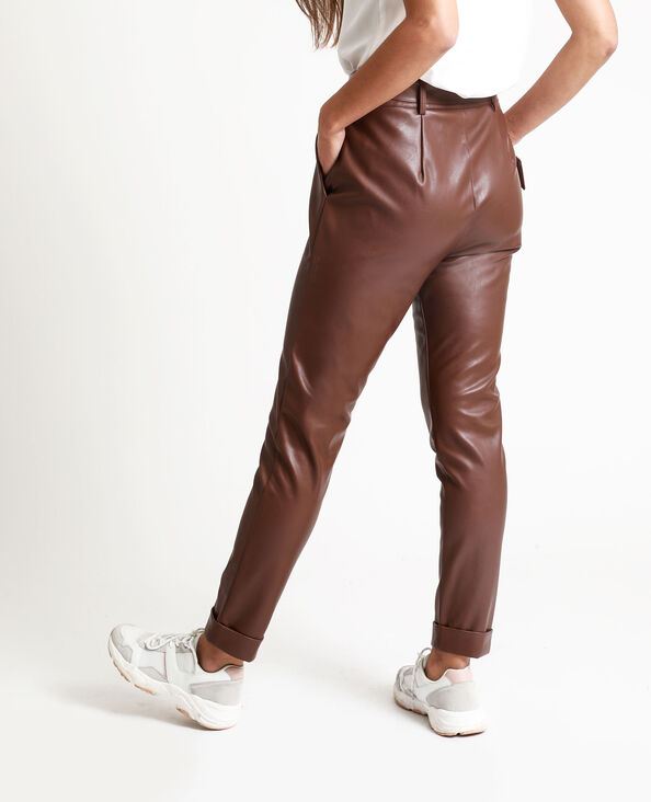 Pantalon en faux cuir marron