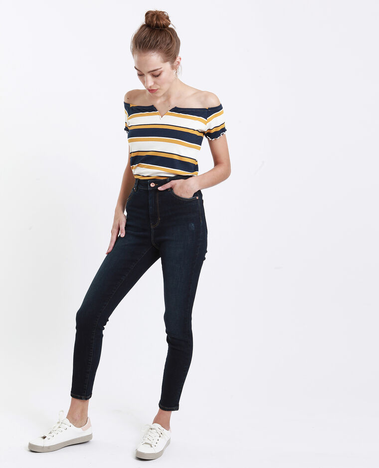 Skinny jeans met hoge taille blauw