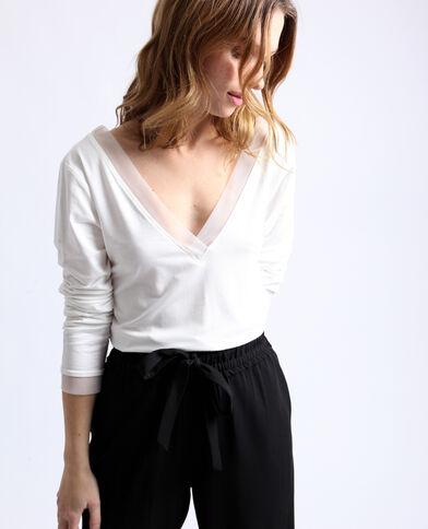 T-shirt met V-hals gebroken wit