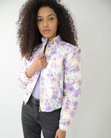 Gewatteerd vestje met bloemenprint wit - Pimkie