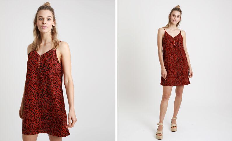 Robe imprimé léopard rouge