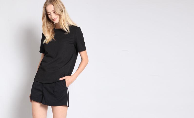 T-shirt met textuur zwart