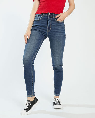 Push-up jeans met hoge taille donkerblauw - Pimkie