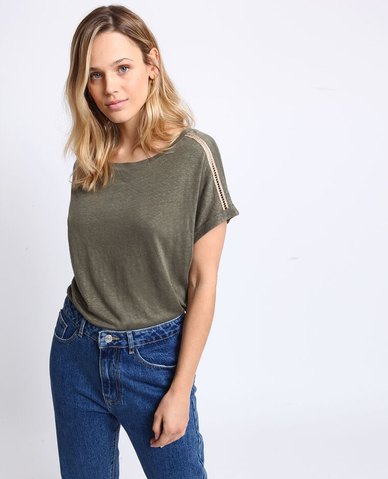 T-shirt à col bateau vert