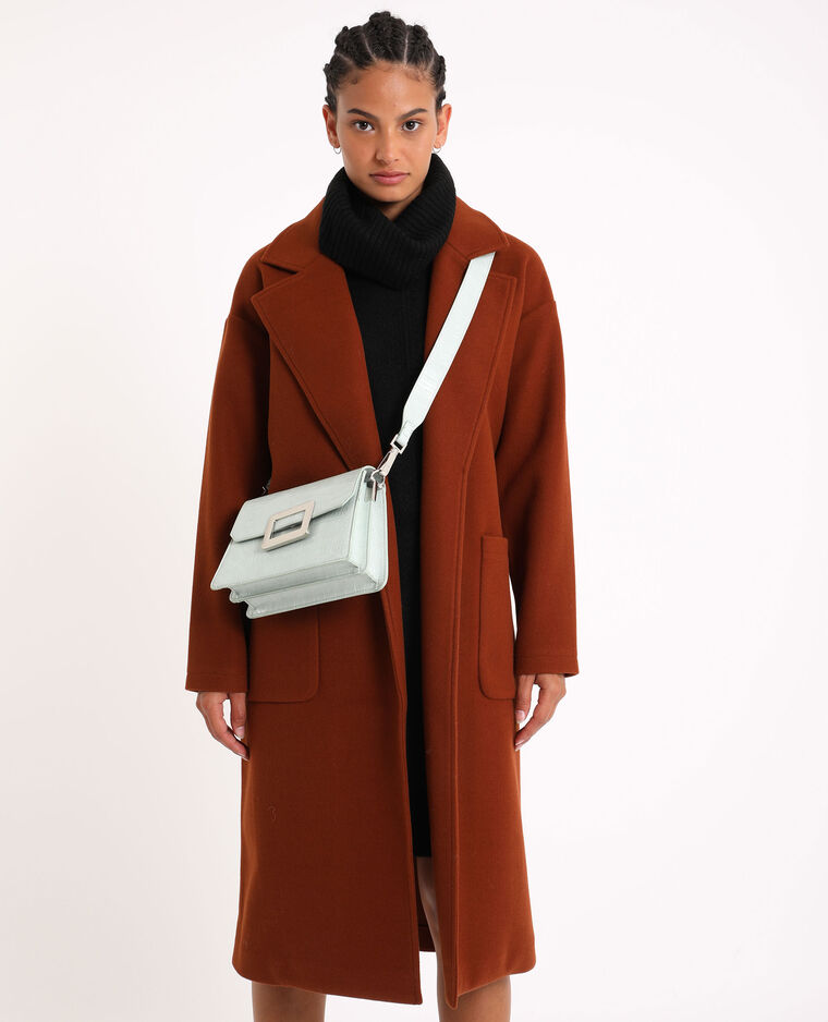 Manteau long à ceinture camel