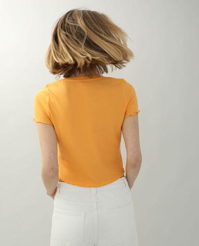 T-shirt van ribstof met ruche oranje