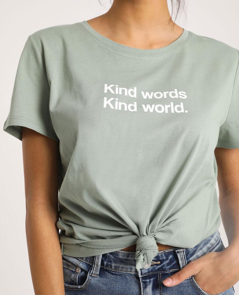 T-shirt à message vert sauge