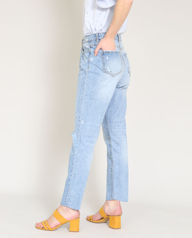 Rechte jeans met destroyed effect blauw