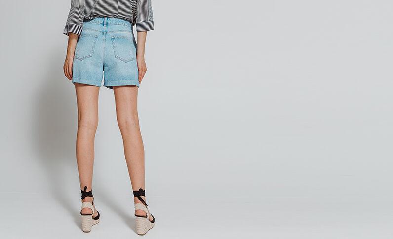 Short en jean bleu denim