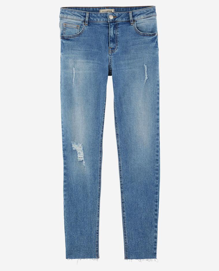 Jean skinny destroy bleu foncé