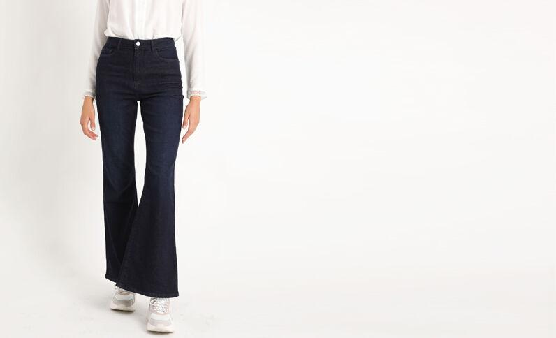Jeans met hoge taille en brede pijpen donkerblauw