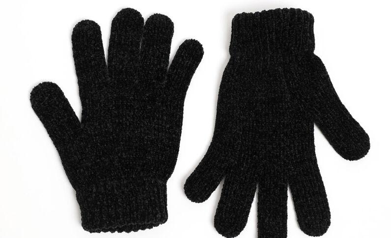 Handschoenen van chenilletricot zwart