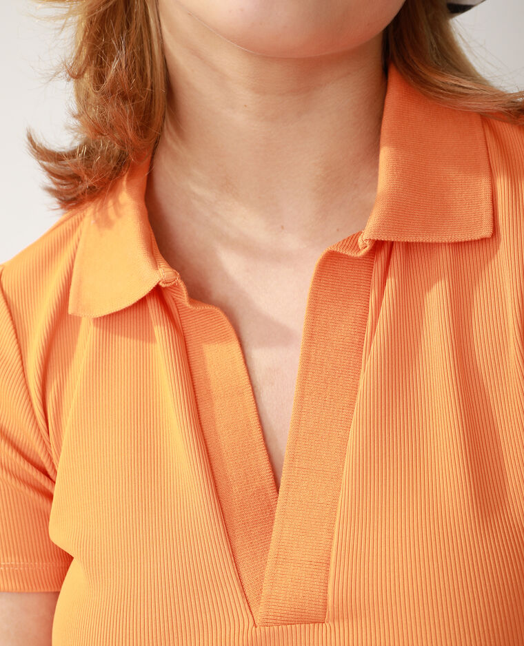 Polojurk van ribstof oranje - Pimkie