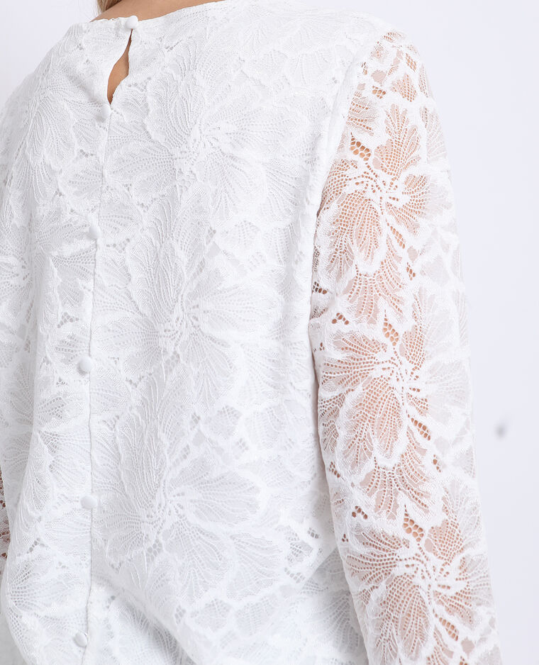 T-shirt met kant gebroken wit