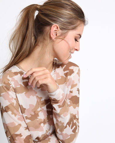 Top transparent camouflage beige