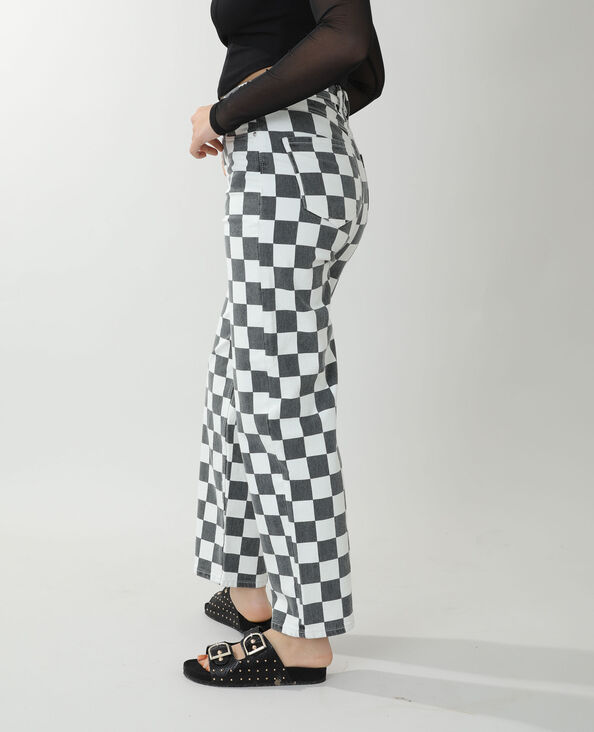 Jean straight high waist damier noir