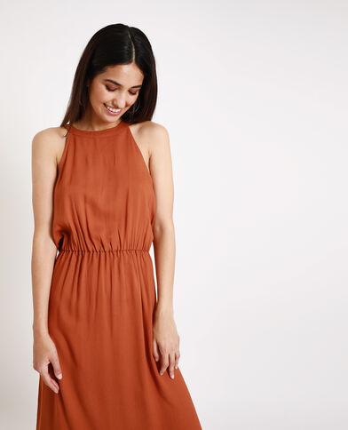 Lange jurk met Amerikaanse hals kastanjebruin
