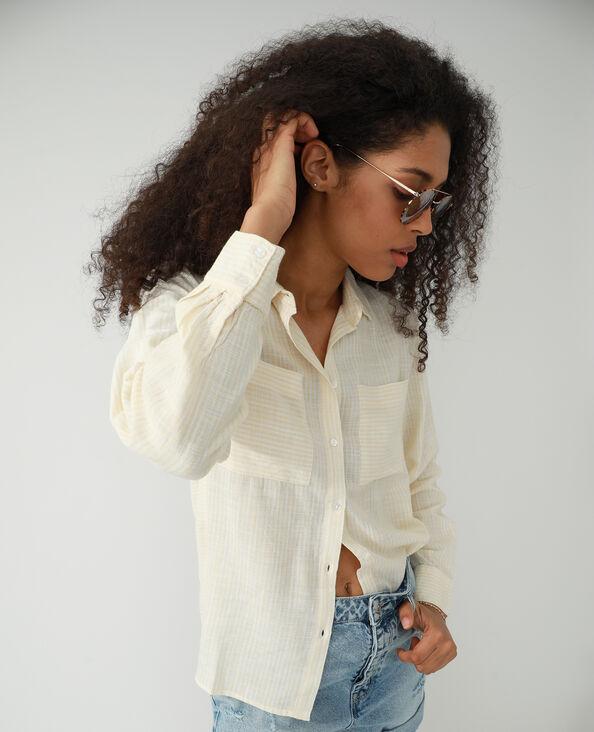 Oversized asymmetrisch hemd wit - Pimkie