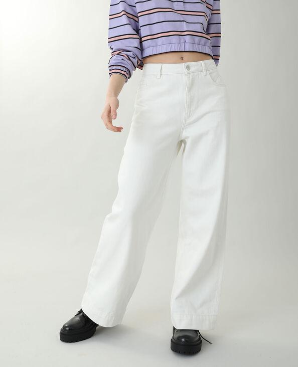 Wide leg jeans met hoge taille ecru