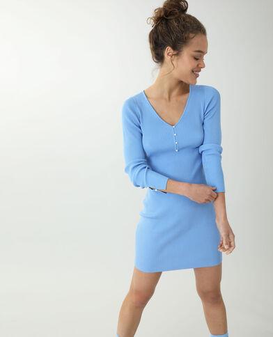 Dunne trui-jurk blauw