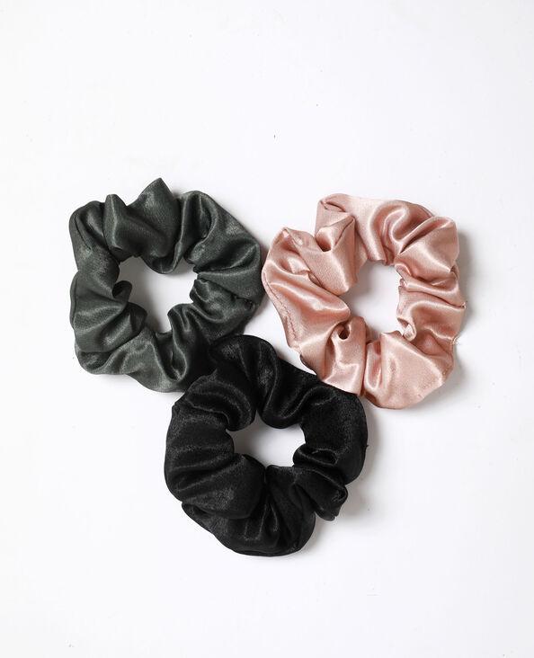 Set van 3 satijnen scrunchies zwart