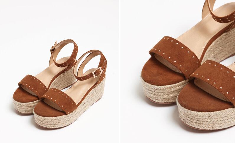 Sandalen met plateauzool kastanjebruin