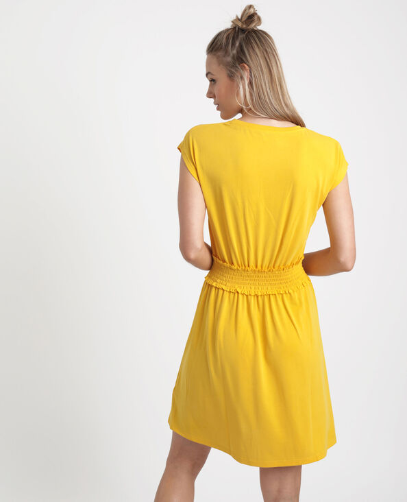Robe midi smockée jaune