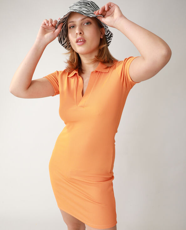 Robe polo côtelée orange - Pimkie