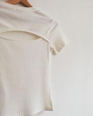 Crop top met korte mouwen gebroken wit