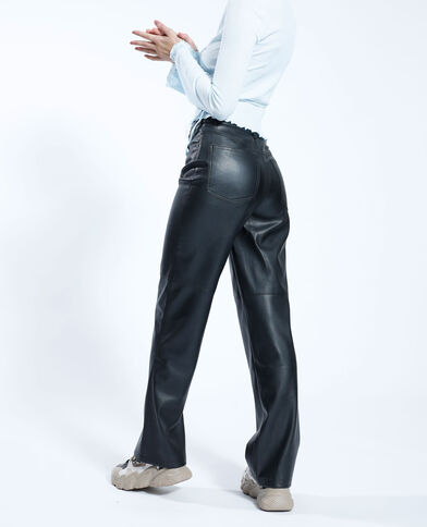 Rechte kunstleren broek zwart - Pimkie