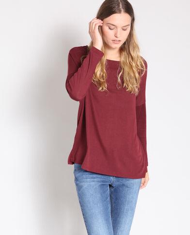 T-shirt met lange mouwen bordeauxrood