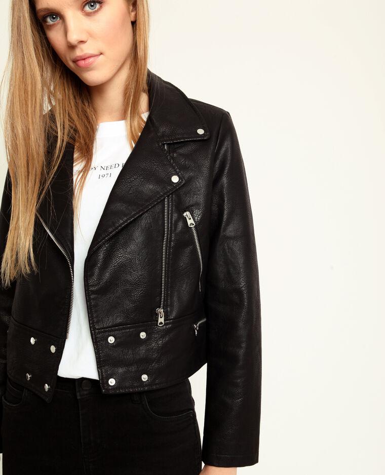 Veste biker en faux cuir noir