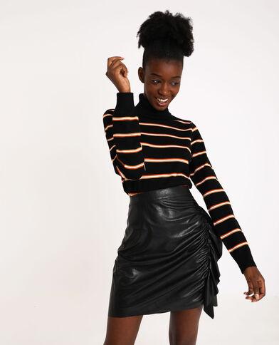 Gestreepte trui met rolkraag zwart