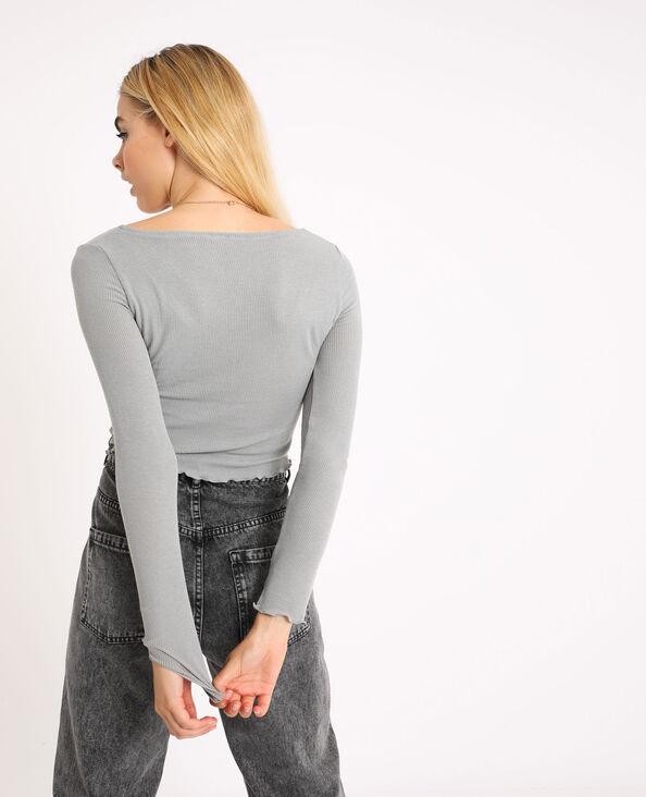 Kort shirt met lange mouwen gemêleerd grijs
