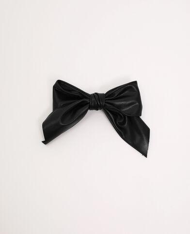 Pince nœud simili cuir noir