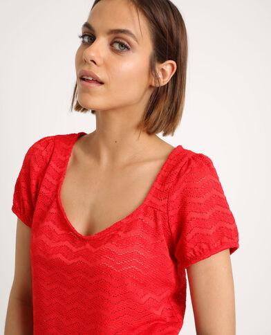 Opengewerkt T-shirt rood