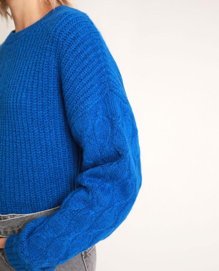 Pull en maille épaisse bleu