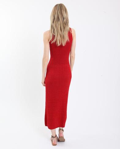 Lange glanzende jurk rood