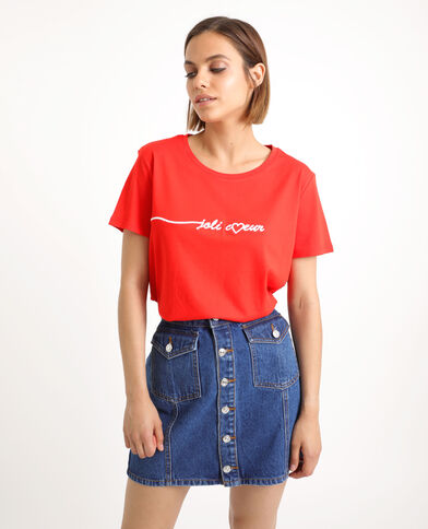 T-shirt brodé rouge