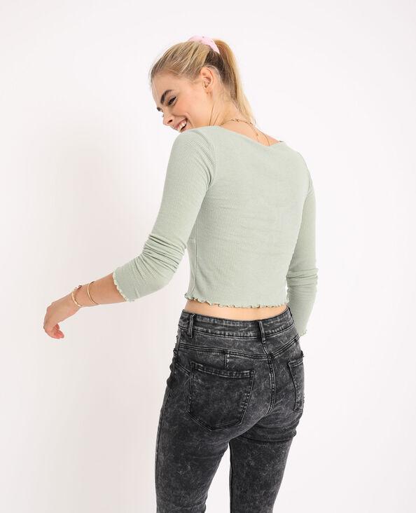 Kort shirt met lange mouwen groen