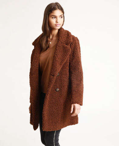 Manteau imitation mouton marron