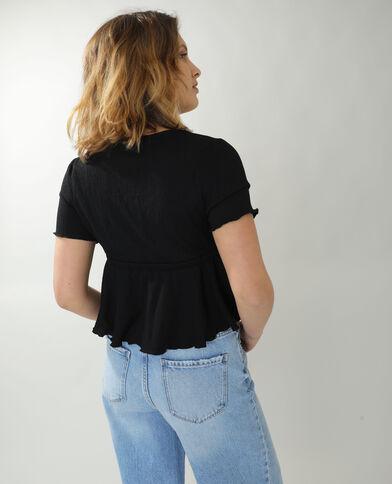 T-shirt volanté noir - Pimkie