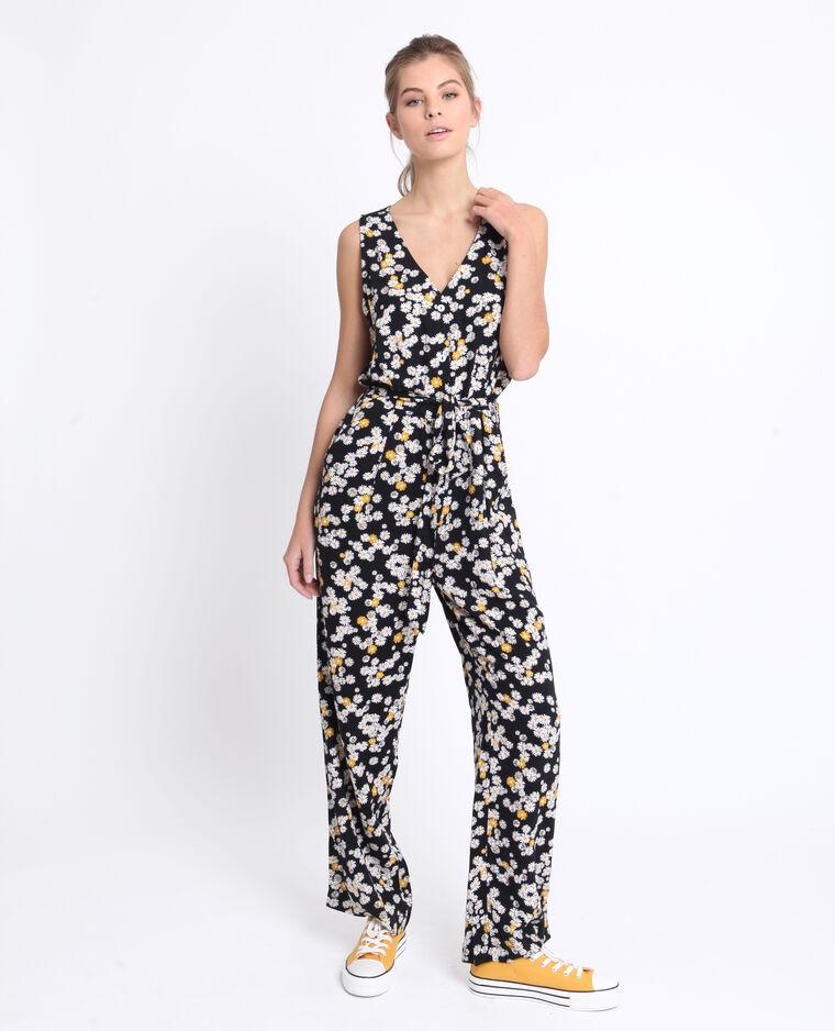 Combi-pantalon à fleurs noir
