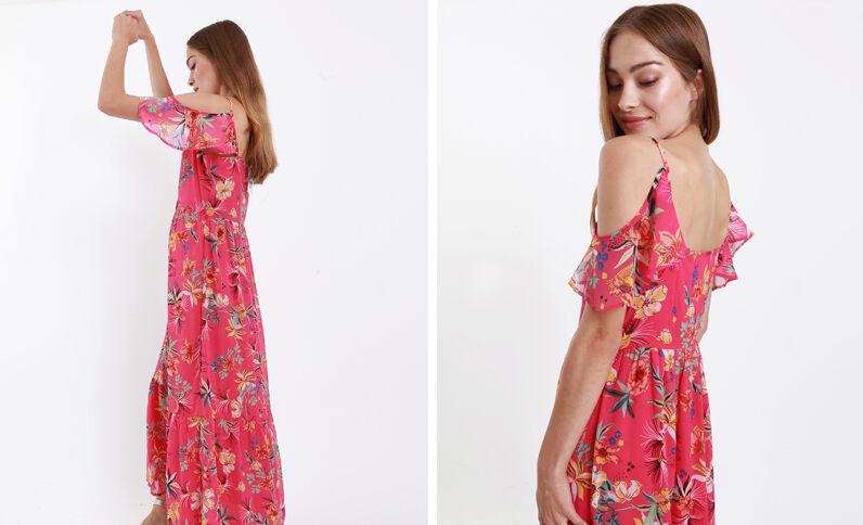 Lange jurk met open schouders roze