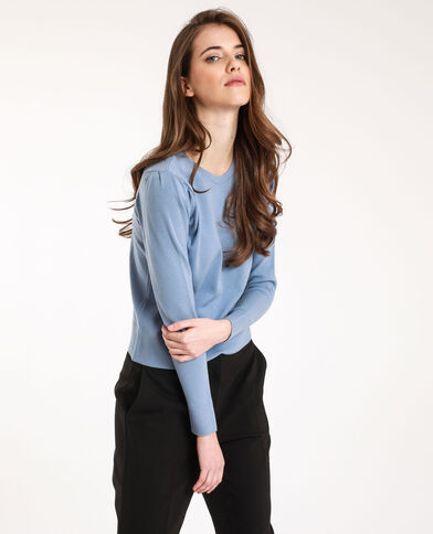 Dunne trui met ronde hals hemelsblauw