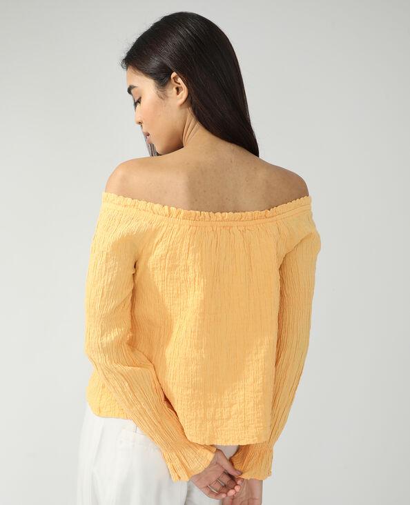 Gefronste blouse oranje - Pimkie