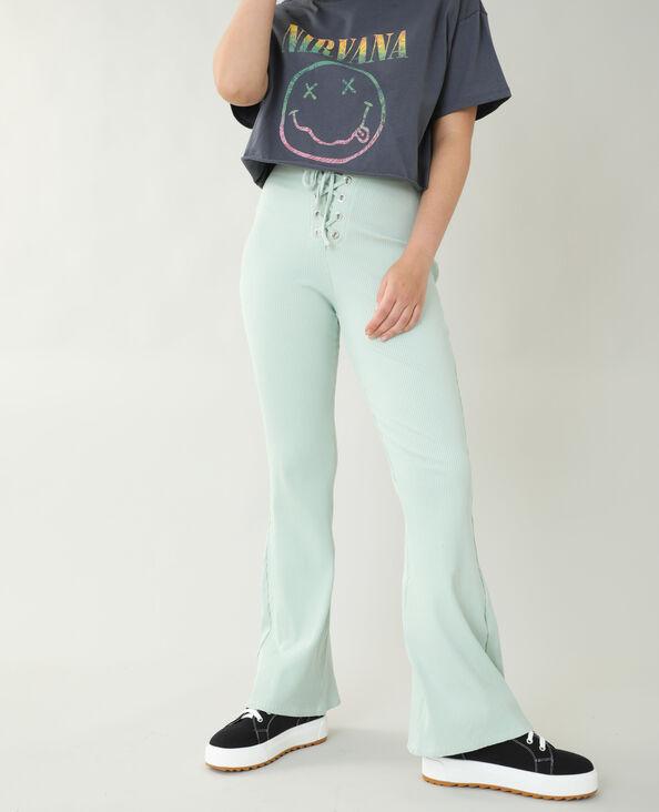 Flared broek met ribbels groen - Pimkie