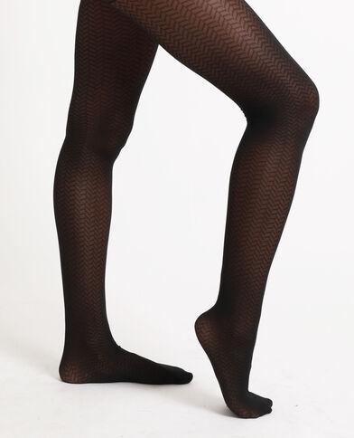 Panty met zigzagmotief zwart