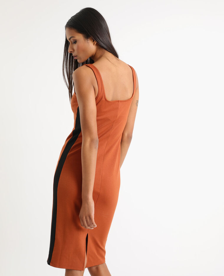 Strakke jurk kastanjebruin